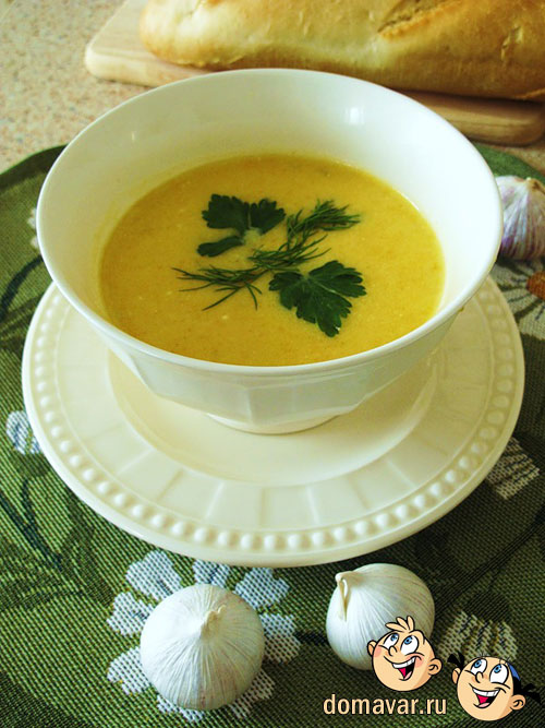Сливочный суп из тыквы и чеснока