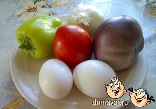 Баклажанное рагу с яйичницей