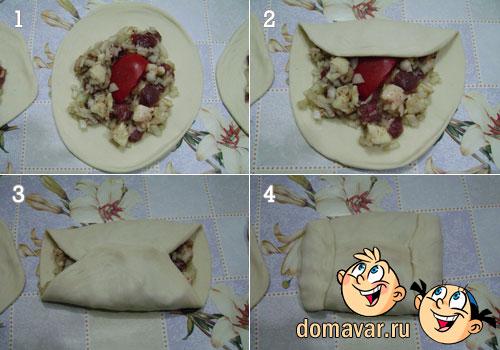Слоеная самса с мясом рецепт