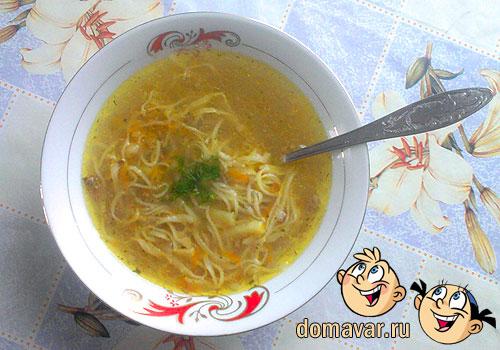 Суп из домашней лапши (Угро шурва), Угро шурва, шурбо, шурво, суп из теста, домашняя лапша, как нарезать, бульон из фарша