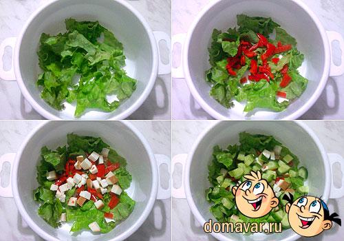 Салат с вареным мясом и оливками