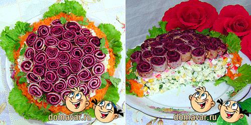 «Блинные розочки» с салатом на праздники