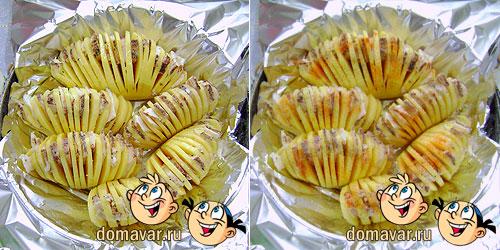 Картошка запеченная гармошкой с салом