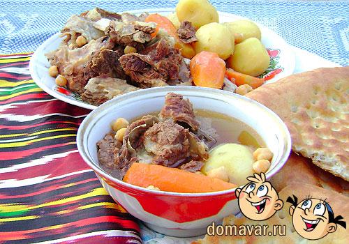 Кайнатма шурпа. Суп из мяса и костей