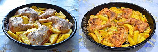 Окорочка и картошка запеченные в духовке