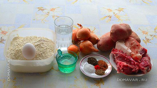 Необходимые ингредиенты для мясного пирога