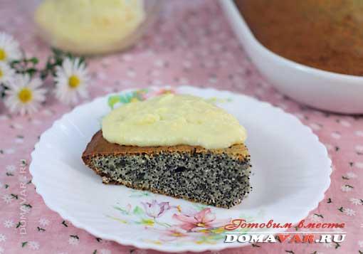 Маковый пирог с заварным кремом