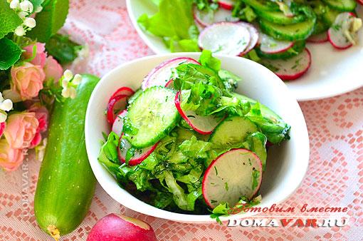 Овощной салат с редисом пошаговый рецепт с фото