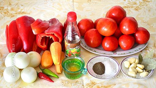 Ингредиенты для приготовления классического лечо