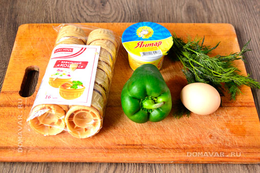 Продукты для приготовления закуски в тарталетках