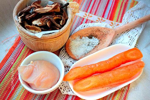 Ингредиенты для подливки из курицы с грибами