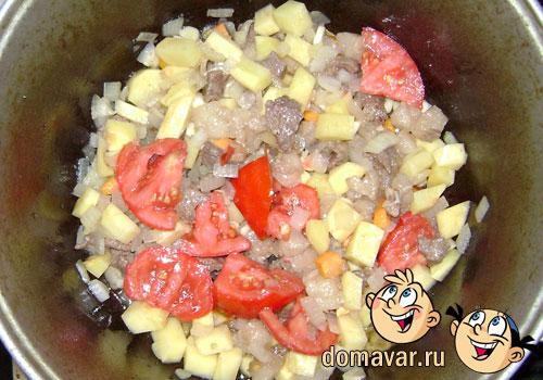 Спагетти с мясом и картошкой