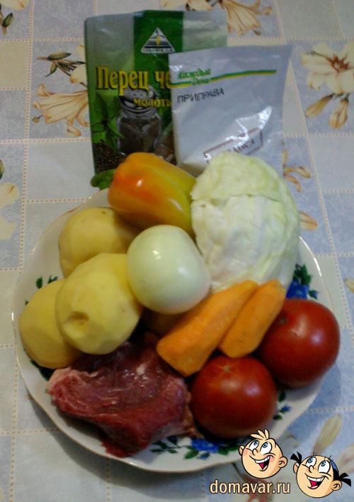 Мясное жаркое с капустой и картошкой