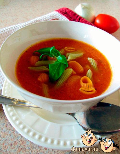 Томатный суп с макаронами в итальянском стиле