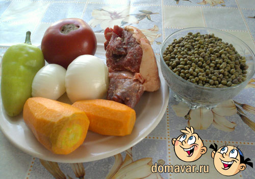 Густой мясной суп из маша и риса - Мошова