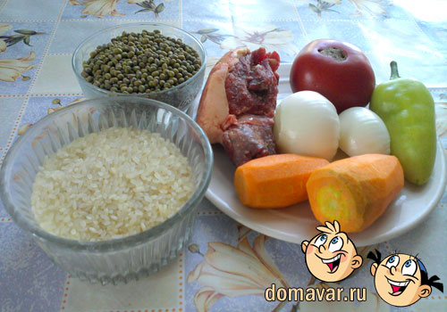 Рисовая каша с машем и овощами