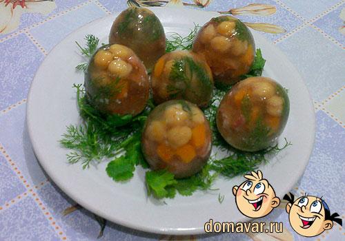 Заливные желейные яйца