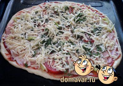 Пицца с колбасой рецепт