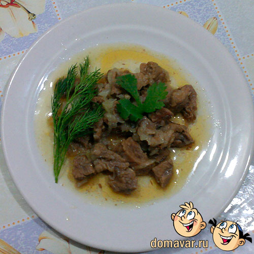 Тушёная говядина с луком