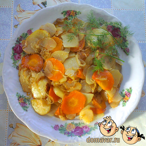 Вегетарианский обед из репы и овощей