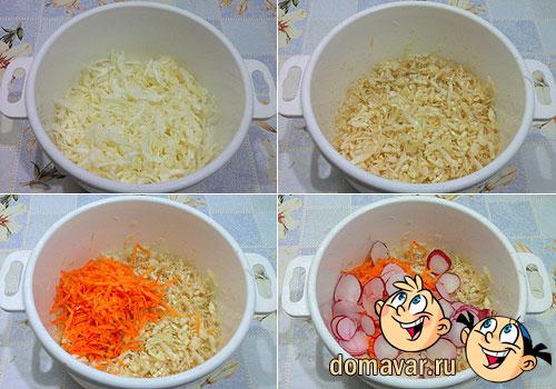 Салат из капусты c редиской и морковью