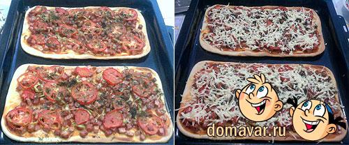 Вкусная домашняя пицца - колбасное ассорти