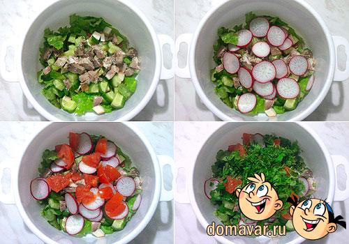 Салат из отварного мяса с оливками
