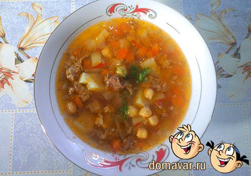 мясной суп из круглого гороха