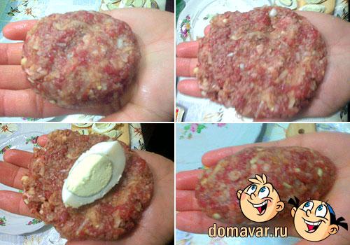 Самые вкусные котлеты с начинкой из варёных яиц