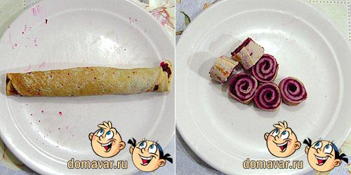 «Блинные розочки» с салатом на праздник