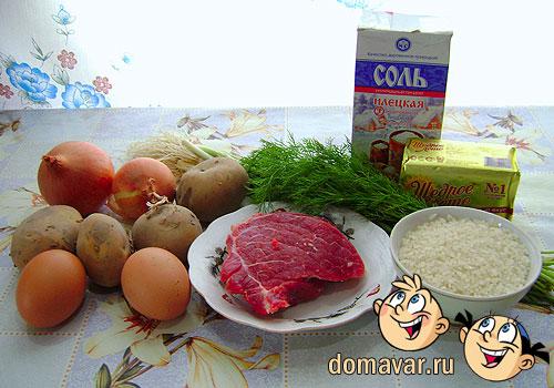 Продукты для блинов с начинкой из мяса