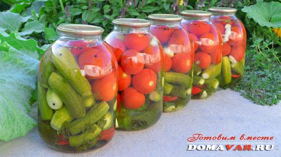 Огурцы с помидорами на зиму рецепт с фото