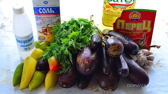 Продукты для приготовления баклажанов по-корейски