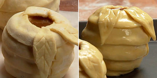 Яблоки в слойке с карамельной начинкой