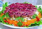 Блинные розочки с салатом на праздники