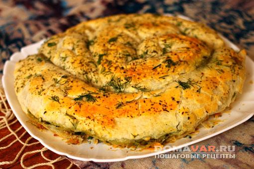 Домашний пирог с зеленью